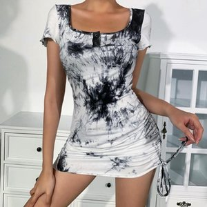 Summer 2020 Tie Dye Gothic Dress Short Sleeve Square Collar Lace-Up Bodycon Dress Street Fashion Casual Goth Short Dresses1