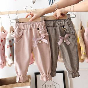 Каждая детская девочек штаны 1-5 лет детские модные карманные брюки дети весна и аутюмн теплые повседневные длинные брюки девушка одежда LJ201019