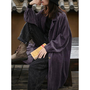 SCUWLINEN 2020 Autumn Winter Women Jacket Casual Artsy Thick Corduroy Notch Lapels Loose Long Trench Normcore Coat S1101-1