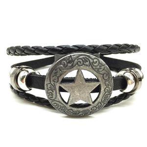 Star Punk Handmade Men Leather Bracelets Women Vintage Bangle Male Homme Jewelry Accessories S jllFuO