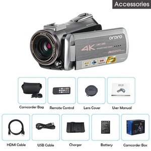 Camcorders Ordro AZ50 Video Camera 30FPS Night Vision 4K Camcorder H.265 Format Support Stereo Microphone GPS Receiver Digital Cameras Lens