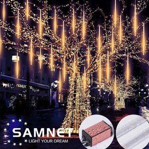 Luz LED Natal Luz 50CM Natal Meteor Rain Shower Tubes Meteor Luzes LED Cordas Luz 8pcs casamento decoração de jardim