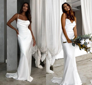 2021 Cheap Mermaid Wedding Dresses Spaghetti Straps Sexy Backless Silk Satin Sweep Train Beach Wedding Bridal Gown vestido de novia