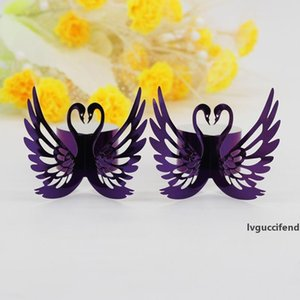 New Hollow out Swan Paper Napkin Buckle Rings Laser Cut Shimmer Paper Craft Serviette Holder Wedding Party Hotel Banquet Table Decor