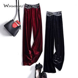 Spring Chic Letter Cross Elastic High Waist Velvet Wide Leg Pants Women Casual Baggy Straight Trouser Korean new Long Pants 2020