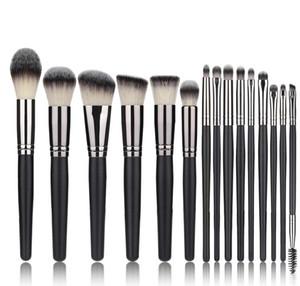 2021 New High Quality Makeup Brush Set 15pcs High Quality Synthetic Hair Black Make Up Brush Tools Kit Professional Makeup Brushes.