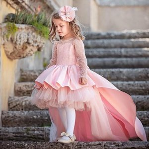 Chic Lovely Pink High Low Flower Girls Dresses Kids Formal Wear Children Birthday Vestidos Tulle Full Sleeves Layers Tulle Girls Pageant Dre