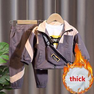 New Fashion Long Sleeve Windproof 3 Pcs Set Coat+ Pant+Bag Kids Boys Girls Spring Fall Children's Clothes Unisex Sport Sets 201027