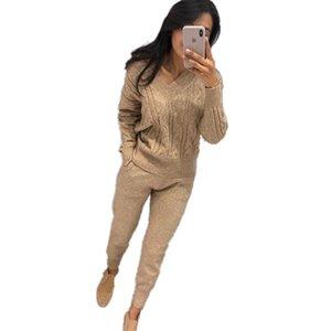 MVGIRLRU femmes survêtement en tricot automne et costume tricot femmes hiver chandail ensemble tricot col V costume deux pièces A1111
