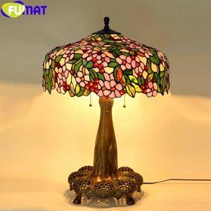 FUMAT style Tiffany Light Desk Raisin Wisteria Vival cerise Vitrail Lampes de table cuivre coulé Antique évider 22inch Cadre