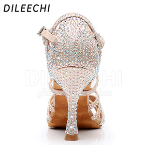 DILEECHI Latin dance shoes big small rhinestone shining Bronze Skin Black satin Women Salsa party Ballroom shoes Cuba 9cm heel 201017