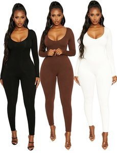 Designer style 2020 New autumn winter new style Jumpsuit fashion women's sexy Solid color long sleeve low collar chest wrapped tight pants