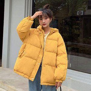 Cotton Womens Winter Coat 2021 New Loose Oversize Winter Jacket Women Yellow Hooded Puffer Jacket Casual Warm Parka Women C6623