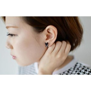 3d Cute Black Cat Piercing Stud Earrings For Women Girls And Men Pearl Channel Earring Fashion Jewelry Wholesa sqckQk queen66