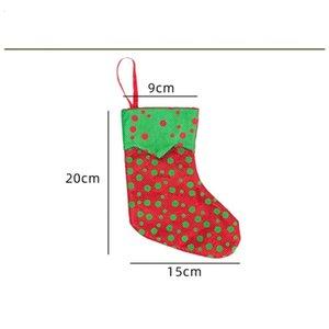 Mini Chrsitmas Stocking Punto rojo y verde de Santa Calcetines de Navidad de caramelo bolsas de regalo la decoración del árbol de Navidad 08