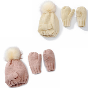Kids Bow Hat Gloves Set Children's Crochet Pompom Balls Hats and Gloves Winter Boys Girls Knitted Warm Caps TD482