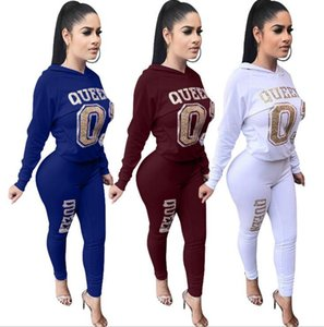 new arrival Women's Tracksuits Fashion Queen Two-Piece sets hooded jerseys pullover Tops And Pants Women's Casual hoodies Sport suit5ELRC7JI