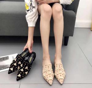 Altın Arı Kadınlar Topuklar 2020 Terlik Mules Perçin saplama Slaytlar Kadın Flock Süet Moda Loafers Fenty Güzellik Ayakkabı