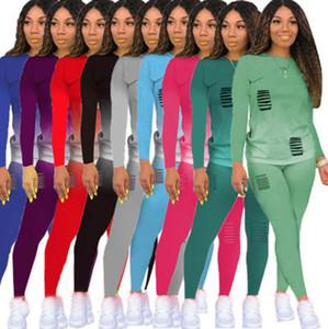 Hot Sellingwomen s two piece jogging suits gradient color burnt flower hole casual Long sleeve 2 piece set tracksuit