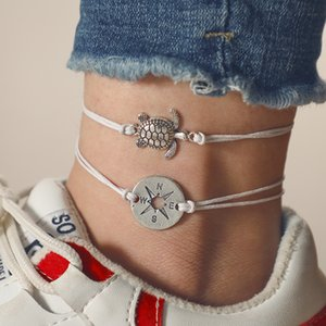 Latest creative design compass turtle design anklet woman new product listing wholesale custom string anklet handmade anklet