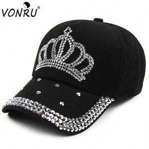 Großhandel VONRU New Crown Strass Baseballmützen Mode Jean Hip-Hop Hut Frauen-Denim-Baseballmütze Sonnenhut t3Dc #