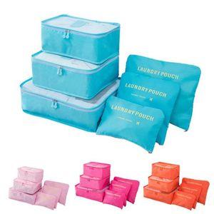6pcs / Set Sac de rangement pour vêtements Finition Multifonctionnel Stockage Organizer Sac Men et Femmes Cubs d'emballage de mailles haute capacité