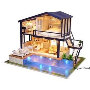 New Girl DIY 3D Wooden Mini Dollhouse Time Apartment Doll House Furniture Educational Toys Furniture For children Love Gift T200116