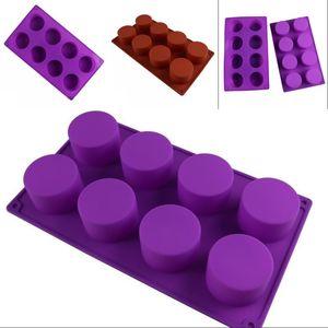 Moule de cuisson en forme de bricolage en forme de cuisson en silicone fabriqué à la main Moules à gâteau haute résistance à la température Huit cercles glaçons chocolats moule 5jm g2