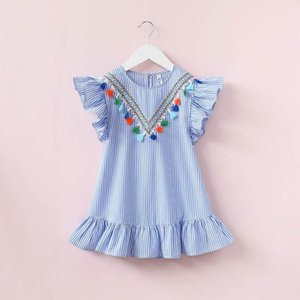Newborn Baby Girl Family Matching Clothes Mom And Daughter Dress Nine Quarter Stripe Tassel Mini Mother And Daughter Outfits xvxv
