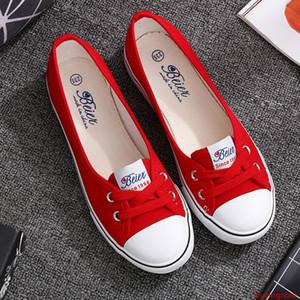 VOGELLIA Повседневных Квартир Обуви Женщина Мелкого рот Квартира Платформа Белые туфли Скольжение на лето Женщины Холст Zapatos де Mujer