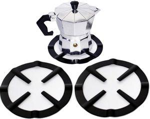 2Pcs Universal Mocha Pot Stand Reducer Ring Holder Base Trivet for Moka Coffee Heavy Duty Cast Iron Trivits Extender for Gas Hob Stoves