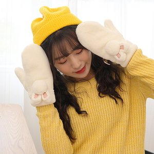 Women's with velvet thick hanging neck gloves windproof and warm winter lovely Korean outdoor students