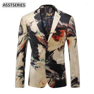 Asstseries Erkek Blazer Yeni Tasarımcı Renkli Erkek Blazer Ceket İtalyan Moda Rahat Baskılı Düğün Balo Men1