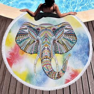 Bohemian Elephant Round Playa Toalla Boho India Tassel Tapicería Floral Yoga Mat Lotus Flowe Beach Manta 20 estilos M3255
