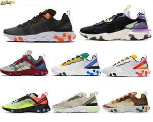 Discount Taped Seams React Element 87 55 Mens Running Shoes Team Red Triple Black White Undercover Womens Trainers Sports Sneakers