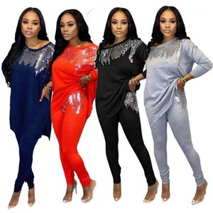 قطعة الملابس الداخلية النسائية فضفاض كم طويل تي شيرت وسروال سليم الخريف المرأة عارضة 2PCS الزي مجموعات الترتر اثنين