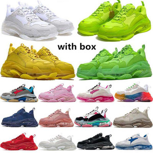 NUEVO CRISTAL INFERIOR Balenciaca 17W Triple S Mujeres Hombres Zapatos casuales Papá Plataforma Transporte Sneaker Designer Sneakers Flat Sneakers Tamaño 36-45 Vintage