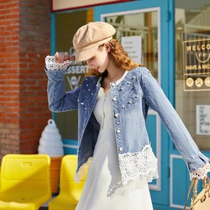 Women's Jackets Zoki Elegant Lace Women Denim Jacket Fashion Spring Korean Slim Jeans Coat Long Sleeve Pearl O Neck Washed Girls Outwear 202