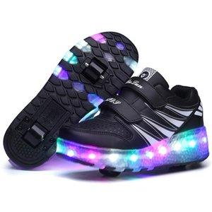 Atlético al aire libre Niños LED Zapatillas de deporte ligeras Boy Girls Roller Skate Rueda Zapatos para niños para niños Iluminación Skatee