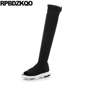 boots wedge over the knee flatform sandals thigh high black peep toe shoes women summer stretch muffin designer new