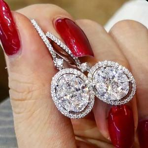 Классическая шикарная капля серерья серебристый цвет с блеском овал CZ камень свадебные свадебные серьги партии годовщины подарка серьги