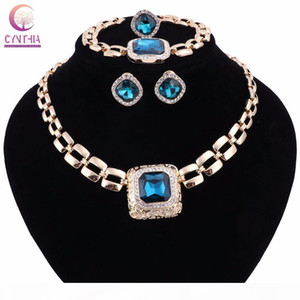 Wedding Party Accessories Crystal Gem Jewelry Sets For Women African Beads Necklace Bracelet Earrings Ring Set Christmas Gift