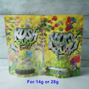 3.5g 7g kush rush exotics bags Sacos de zíper resealable para frescor flores à prova de criança Embalagem 14g 28g mylar malas kush rush mylar bags aa
