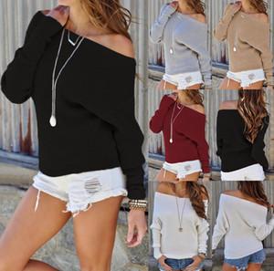 Hirigin одно плечо свитера женщин Осень 2020 Pure Color Осень теплая одежда женщин моды с длинным рукавом трикотажные Streetwear