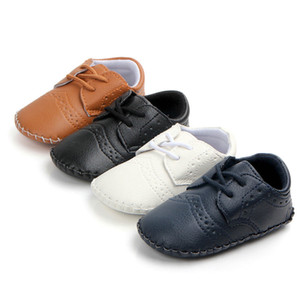 Kids Baby Boys Shoes First Walkers Lace-Up PU Leather Newborn shoes Antislip Baby Footwear moccasins
