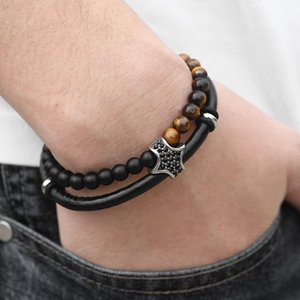 Glass Mens Leather Stone Men Black For Male Genuine Gifts Tiger Bracelet Beaded Christmas Eye Unique Kdlb114 Jewelry tsetClx whole2019