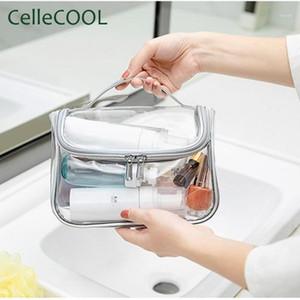 Прозрачная косметическая сумка женская мода водонепроницаемая большой емкости фитнес туалетная сумка для ванны баня путешествия портативное хранение1