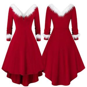 Fashion Womens Vintage Santa Christmas Dress Printed Dress Ladies Long Sleeve Dresses Sexy Xmas Party Festival Dress S-3XL