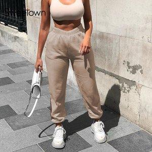Sweetown feste beiläufige Frauen Jogger Jogginghose elastische hohe Taille Laufharemshosen Weibliche Street Pantalones Hip Hop Mujer C1001