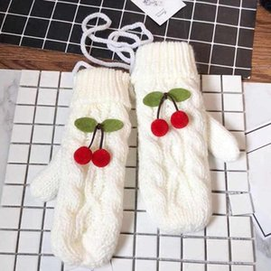 Lovely Cherry Knitted Halter Gloves Soft Thick Warm Adult Women Mittens Kawaii Gloves Fashion Solid Color Winter Outdoor